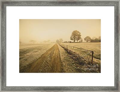 Frosted Road In Outback Australia Framed Print