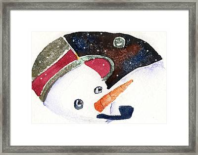 Frosty And The Moon Framed Print by Mindy Newman