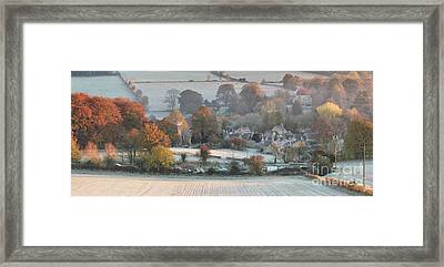 Frosty Autumn Sunrise Overlooking Upper Slaughter Framed Print by Tim Gainey