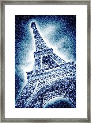 Frosty Eiffeltower In Snow Flurry - Graphic Art Framed Print by Melanie Viola