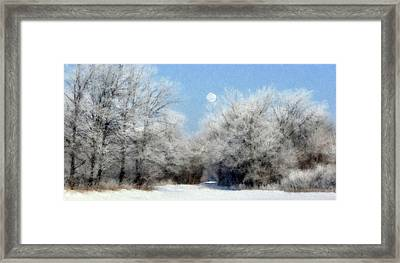 Frosty Moon Trail Framed Print by John Hix