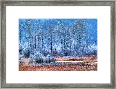 Framed Print featuring the digital art Frosty Morning At The Marsh Photo Art by Sharon Talson