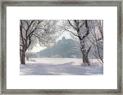 Frosty Sugarloaf Between Trees Framed Print