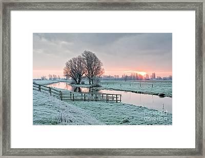 Frosty Sunrise Cambridgeshire Framed Print by Julian Eales