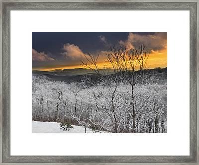 Framed Print featuring the photograph Frosty Sunset by Ken Barrett