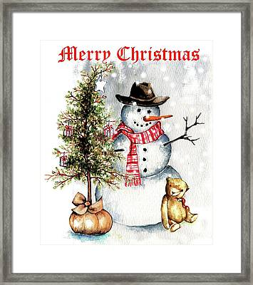 Frosty The Snowman Greeting Card Framed Print