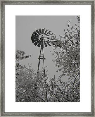 Frosty Windmill Framed Print by Deena Keller
