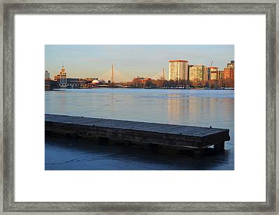 Frozen Dock On The Charles River Framed Print by Toby McGuire