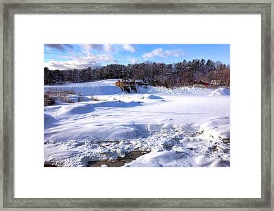 Frozen Androscoggin River Framed Print by Olivier Le Queinec