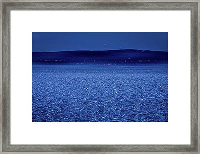 Frozen Bay At Night Framed Print by Onyonet  Photo Studios