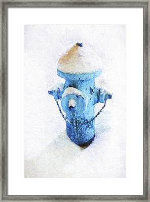 Frozen Blue Fire Hydrant Framed Print by Andee Design