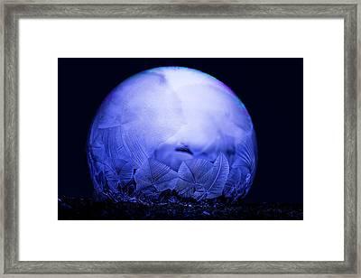 Frozen Bubble Art Blue Framed Print