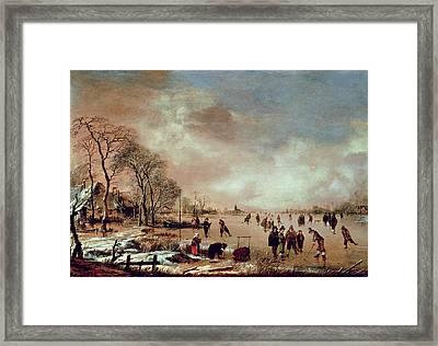 Frozen Canal Scene  Framed Print by Aert van der Neer