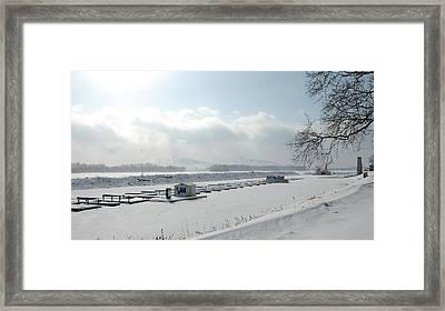 Frozen Dock Framed Print