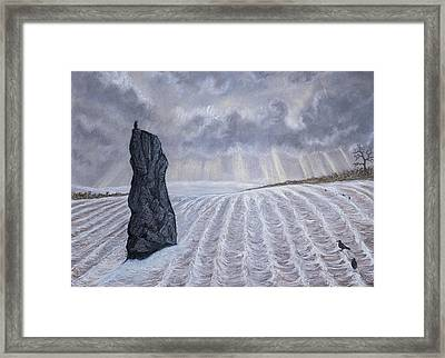 Frozen Field Megalith Framed Print by Philip Harvey