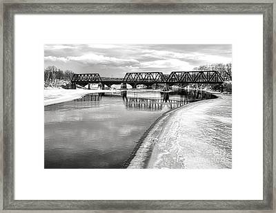 Frozen Kennebec River And Railroad Bridge In Waterville Framed Print