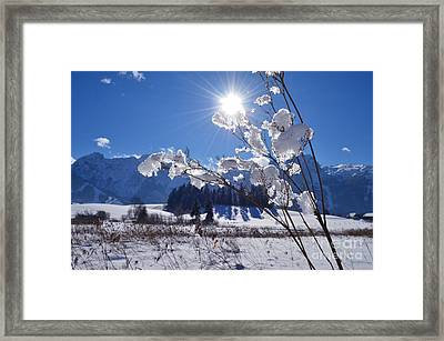 Frozen Lake And Mountains Framed Print by Sabine Jacobs