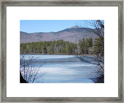Frozen Lake Chocorua Framed Print by Catherine Gagne