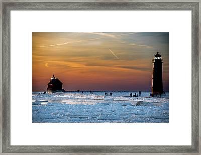 Frozen Lighthouse Framed Print