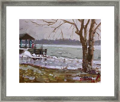 Frozen Niagara River Framed Print by Ylli Haruni