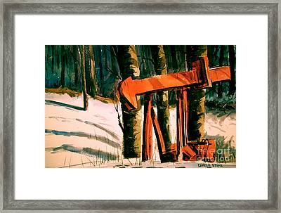 Frozen Oil Horse Matted Glassed And Framed Framed Print by Charlie Spear