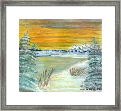 Frozen Pond Framed Print by Anna Folkartanna Maciejewska-Dyba