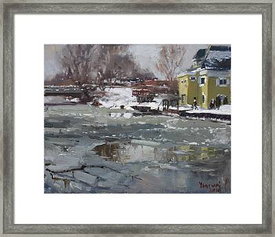 Frozen Cayuga Creek Framed Print by Ylli Haruni