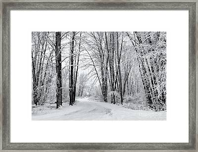 Frozen Road Framed Print by Mike Dawson
