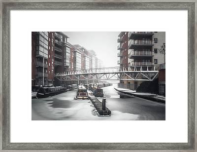 Frozen Sherborne Wharf Framed Print