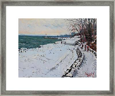 Frozen Shore In Oakville On Framed Print by Ylli Haruni