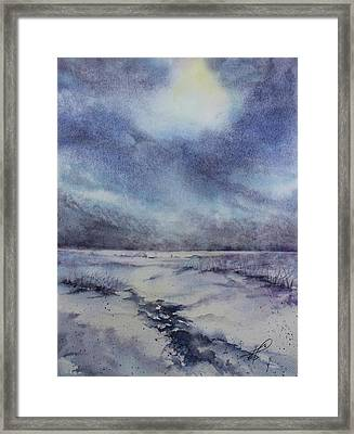 Framed Print featuring the painting Frozen Shoreline Of The St. Lawrence by Kim Fournier