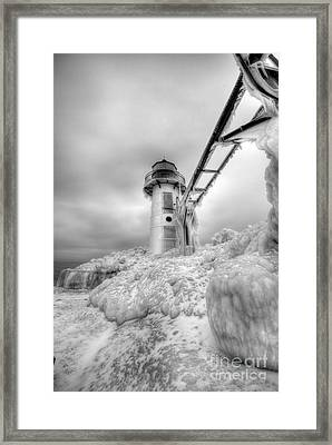 Frozen St. Joe Lighthouse By Kevin Oconnell - Kogalleries.com Framed Print by Kevin Oconnell
