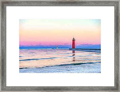 Framed Print featuring the photograph Frozen Sunset by Steven Santamour