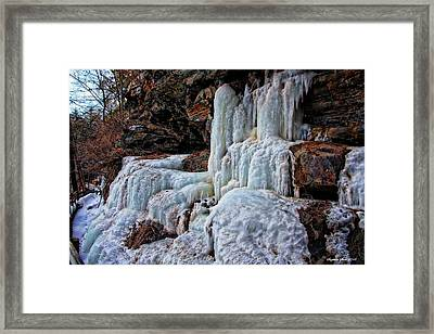 Frozen Waterfall Framed Print by Suzanne Stout