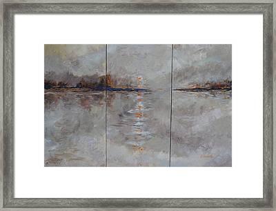Frozern Fog Triptych Framed Print by Beth Maddox