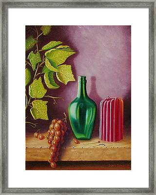 Framed Print featuring the painting Fruit And Candle by Gene Gregory