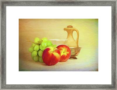 Fruit And Dishware Still Life Framed Print