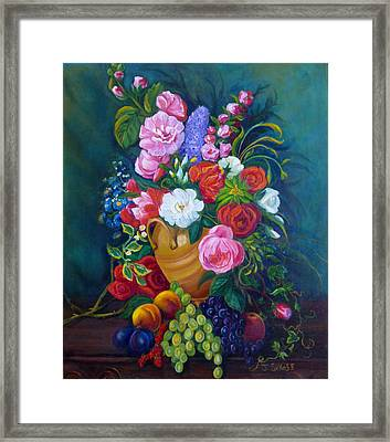 Fruit And Flowers Framed Print by Janet Silkoff