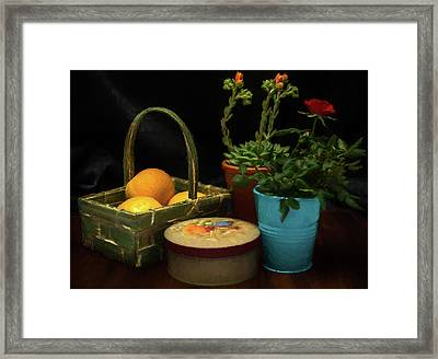 Fruit And Flowers Still Life Digital Painting Framed Print