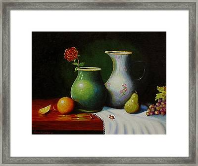 Framed Print featuring the painting Fruit And Pots. by Gene Gregory