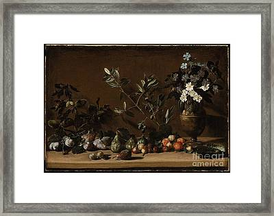 Fruit And Vase Of Flowers On A Ledge Framed Print