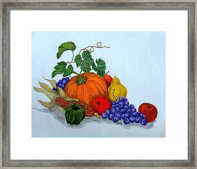 Framed Print featuring the drawing Fruit And Veggies by Terri Mills