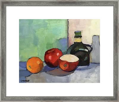 Fruit And Vinegar Framed Print by Catherine Martzloff