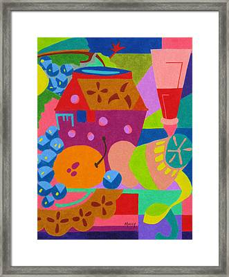 Fruit And Wine Framed Print by Molly Williams
