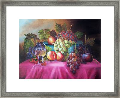 Fruit And Wine On Mauve Cloth Framed Print