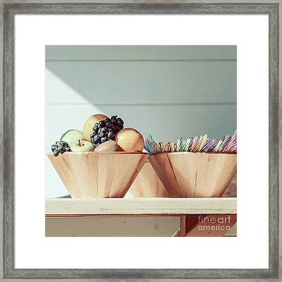 Fruit Bowl And Colorful Straws On Table Framed Print by Radu Bercan