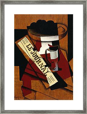Fruit Dish Glass And Newspaper Framed Print by Juan Gris