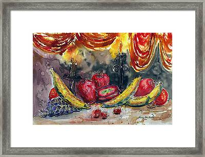 Fruit Drape And Candle Framed Print by Shirley Sykes Bracken