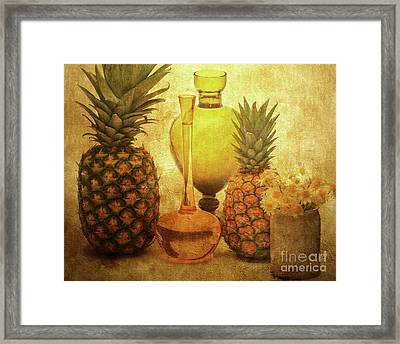Fruit Flowers And Vases Framed Print by KaFra Art