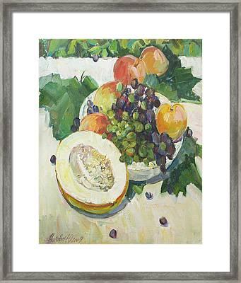 Fruit On Grape Leaves Framed Print by Juliya Zhukova